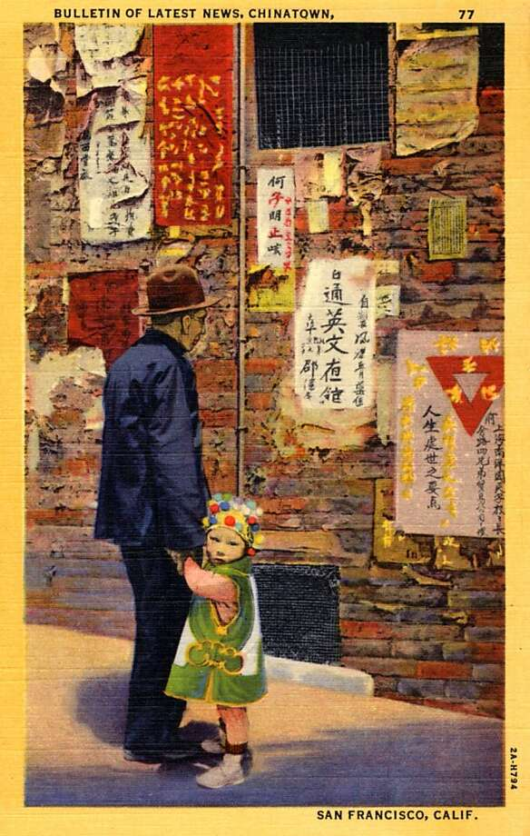 Vintage linen postcard showing an elderly Chinese man and young girl reading news printed in Chinese hung on the exterior of a brick wall. Photo: Curt Teich Postcard Archives