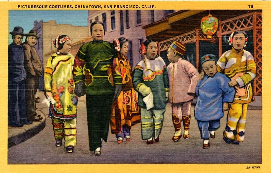 Vintage linen postcard showing Chinese adults and children on a street in Chinatown wearing traditional Chinese costumes. Photo: Curt Teich Postcard Archives