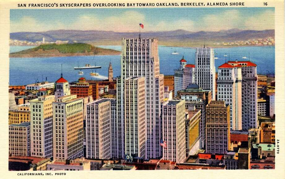 Vintage linen postcard showing a bird's eye view looking over San Francisco's skyscrapers and across the Bay. Oakland, Berkeley and Alameda are in the distance. Photo: Curt Teich Postcard Archives