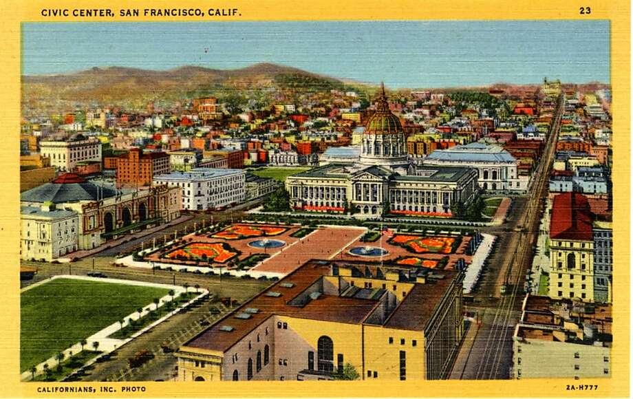 Vintage linen postcard showing a bird's eye view of the Civic Center complex. A landscaped plaza is visible in front of City Hall and the War Memorial and Opera House are visible behind the building, the city and mountains are in the distance. Photo: Curt Teich Postcard Archives