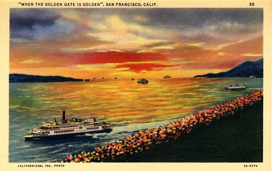 Vintage linen postcard showing the unbridged Golden Gate at sunset.  Photo: Curt Teich Postcard Archives