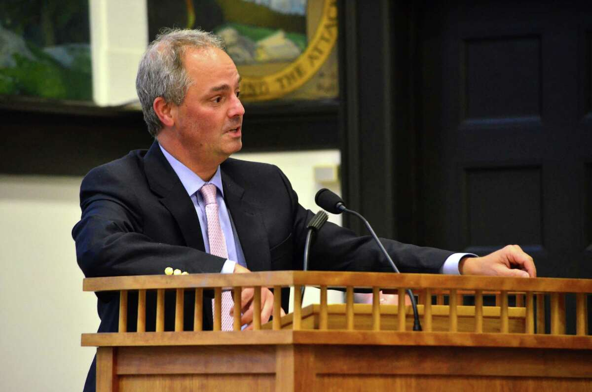 Superintendent Stephen Falcone presenting the proposed building projects at Tokeneke and Royle Elementary Schools to the Board of Selectmen on Tuesday, May 21.
