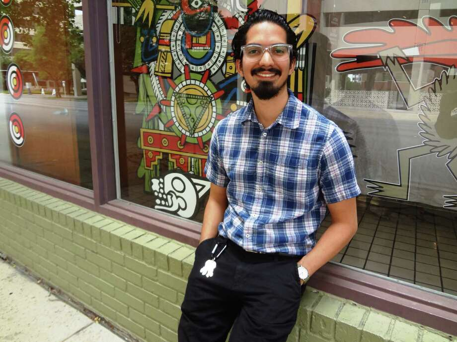 "Michael Menchaca is exhibiting ""Autos Sacramentales"" as part of the Window Works project at Artpace. Photo: Steve Bennett / San Antonio Express-News"