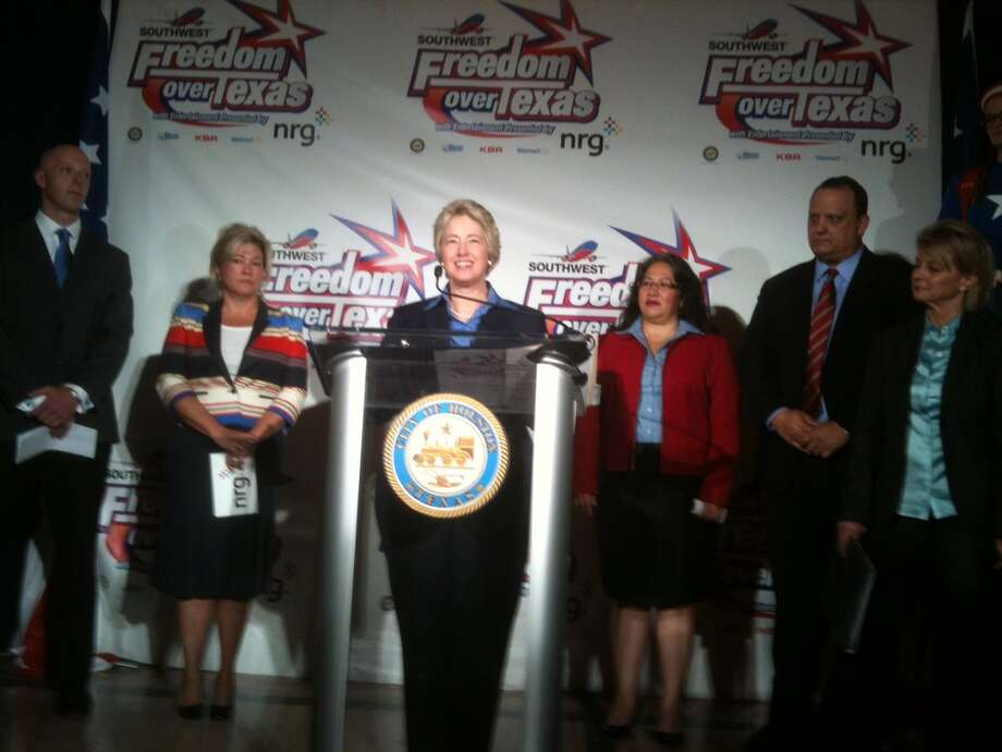 Houston Mayor Annise Parker announces the festivities planned at this year's Southwest Airlines Freedom Over Texas celebration on July 4 at Eleanor Tinsley Park. Photo: Robert Stanton