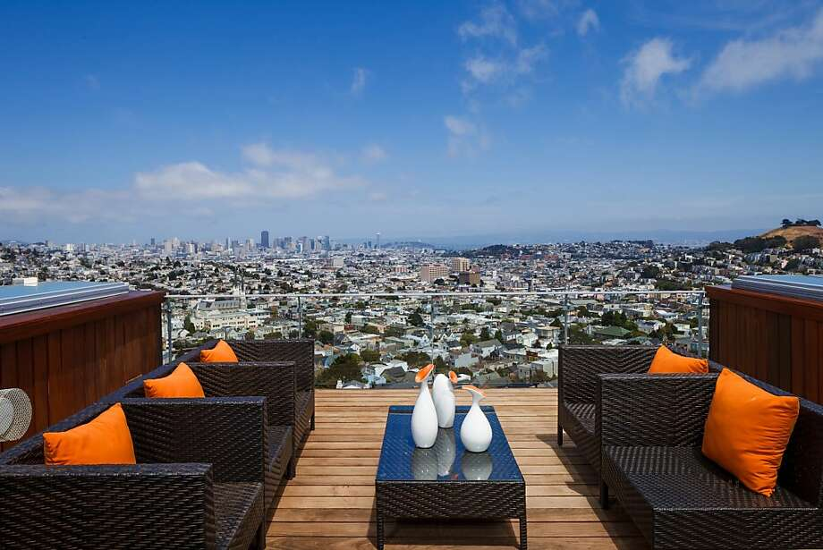 A view from the deck located off the master suite at 71 Miguel St., overlooks San Francisco. Photo: Jacob Elliott Photography