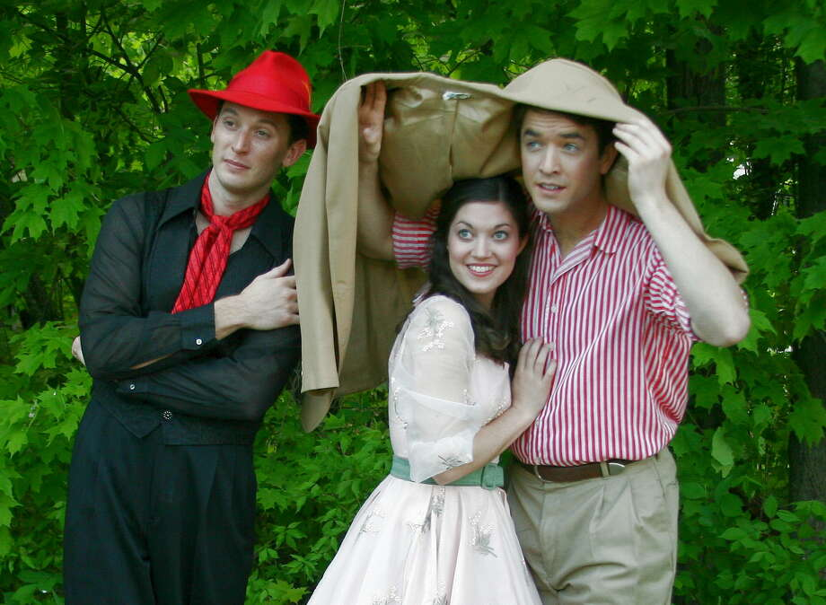 "Patrick Heffernan, left, Andrew McMath and Stephanie Granade star in ""The Fantasticks,"" opening the 45th season at The Mac-Haydn Theatre in Chatham, NY, May 23 through June 2, 2013. (Mac-Haydn Theatre) Photo: Own"