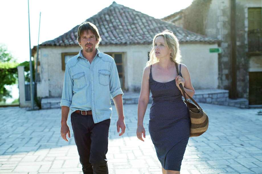 BEFORE MIDNIGHT Left to Right: Ethan Hawke as Jesse and Julie Delpy as Celine Photo by Despina Spyrou, Courtesy of Sony Pictures Classics / © Sony Pictures Entertainment Inc.