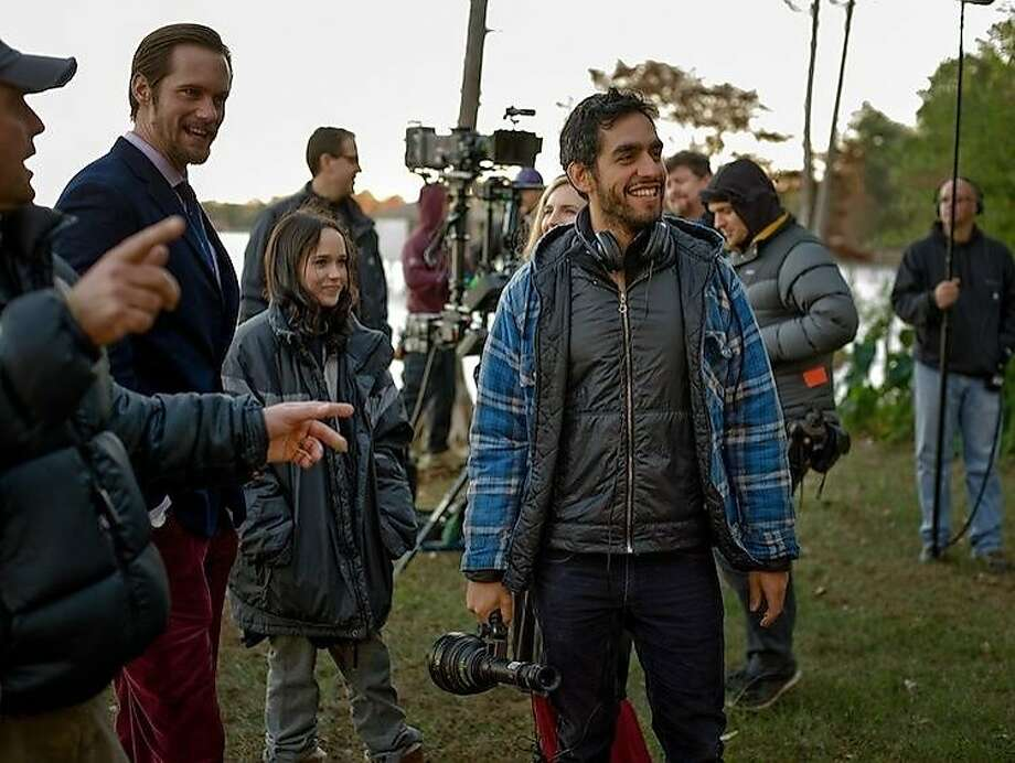 "Alexander Skarsgård, Ellen Page and director Zal Batmanglij on the set of ""The East,"" which was shot on a tight budget. Photo: Fox Searchlight"