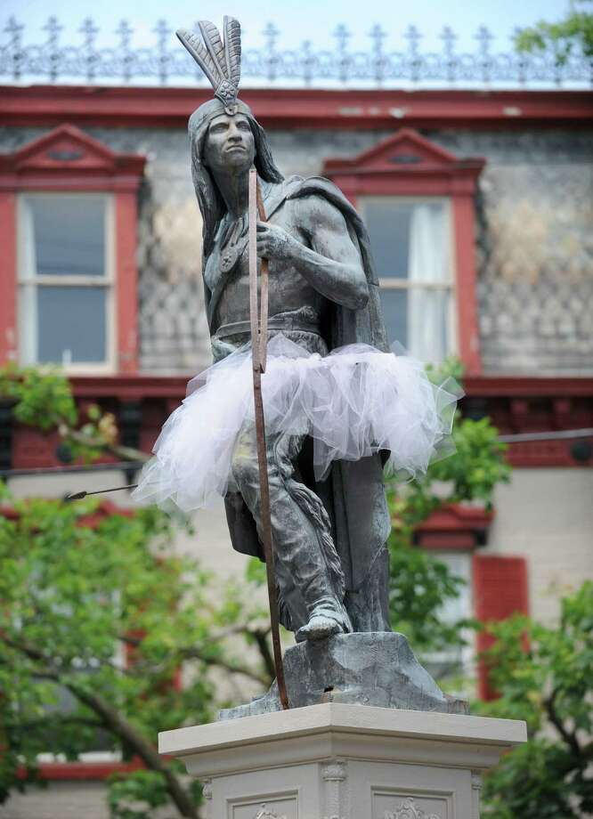 In celebration of the Tony Award-winning Billy Elliot the Musical at Proctor's six landmarks including Lawrence the Indian statue in the stockade are decorated with tutus on Wednesday, May 22, 2013 in Schenectady, N.Y. (Lori Van Buren / Times Union) Photo: Lori Van Buren / 00022532A