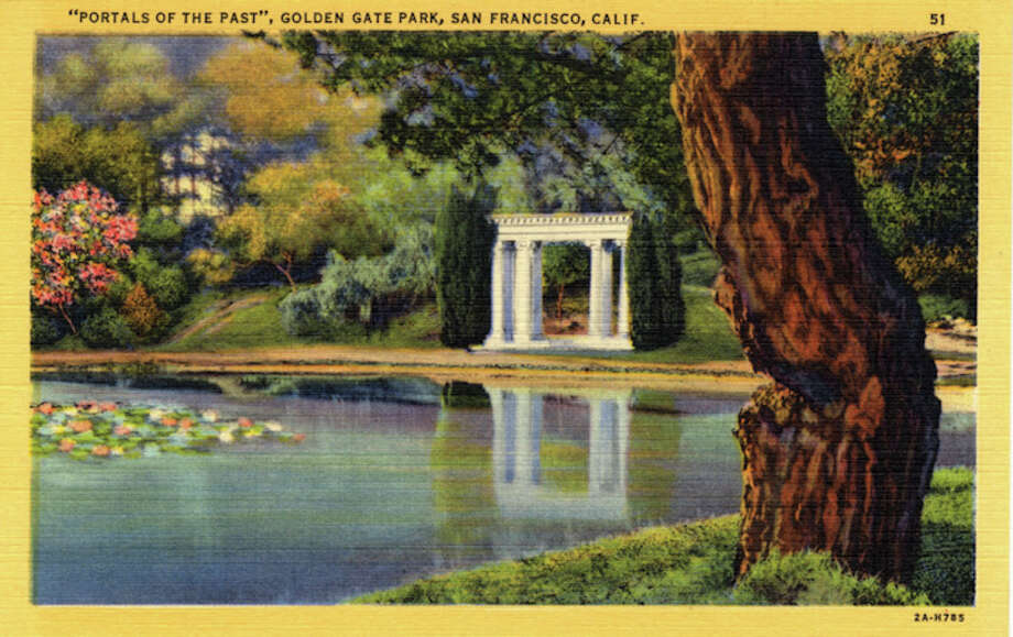 Vintage linen postcard showing the Portals of the Past that once belonged to a Nob Hill mansion before the Great Earthquake and Fire. They now stand on the shore of this picturesque lake in the park. Photo: Getty Images / Curt Teich Postcard Archives