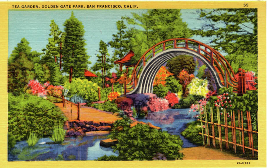 Vintage linen postcard showing the Tea Garden with its humpback bridges, stone paths, tiny streams, flowering foliage, and Asian-style architecture. Photo: Getty Images / Curt Teich Postcard Archives