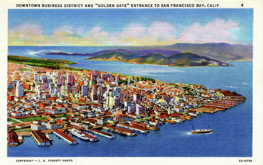 Vintage linen postcard showing a bird's eye view from above San Francisco Bay of the downtown business district and the Golden Gate. Photo: Getty Images
