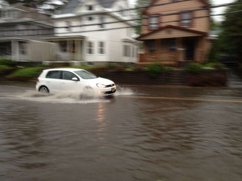 A thunderstorm flooded part of Mohawk Avenue in Scotia Wednesday afternoon, just hours before the vi
