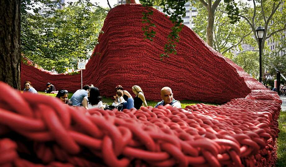 Here comes the braid: Artist Orly Genger knotted 1.4 million feet of painted rope by hand for this installation at Madison Square Park in New 
