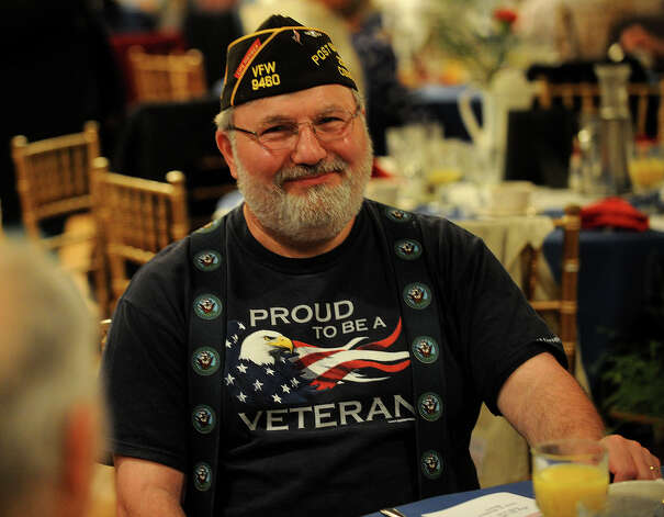 Submarine veteran Mike DeLeo, of Milford, at the Town of Stratford's 2013 Veterans Breakfast at Vazzano's Four Seasons banquet facility in Stratford, Conn. on Wednesday, May 22, 2013. Photo: Brian A. Pounds / Connecticut Post