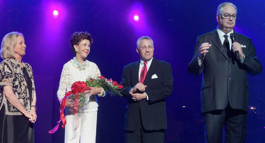 "Las Casas Foundation CEO Kaye Lenox, from left, takes the stage of the Majestic Theatre with Joci Straus, Frank Ruttenberg and V.T. ""Skip"" Wood as part of the sold out Il Divo concert. Photo: Photo By Jim Keller, Courtesy Photo / Photo by Jim Keller"