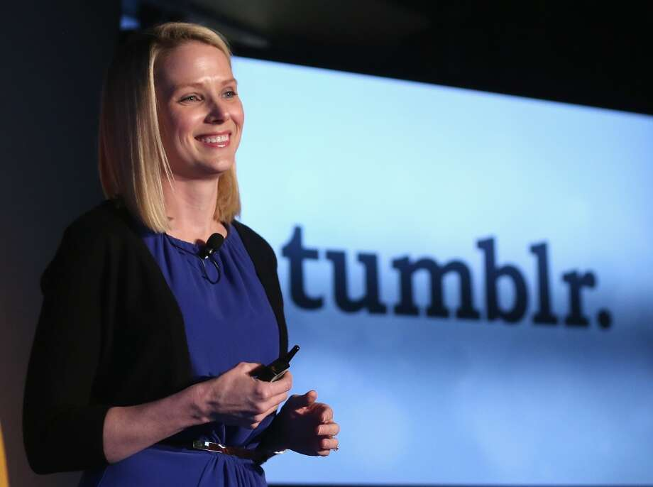 Yahoo CEO Marissa Mayer speaks about the company's acquisition of Tumblr at a press conference in Times Square on May 20, 2013 in New York City