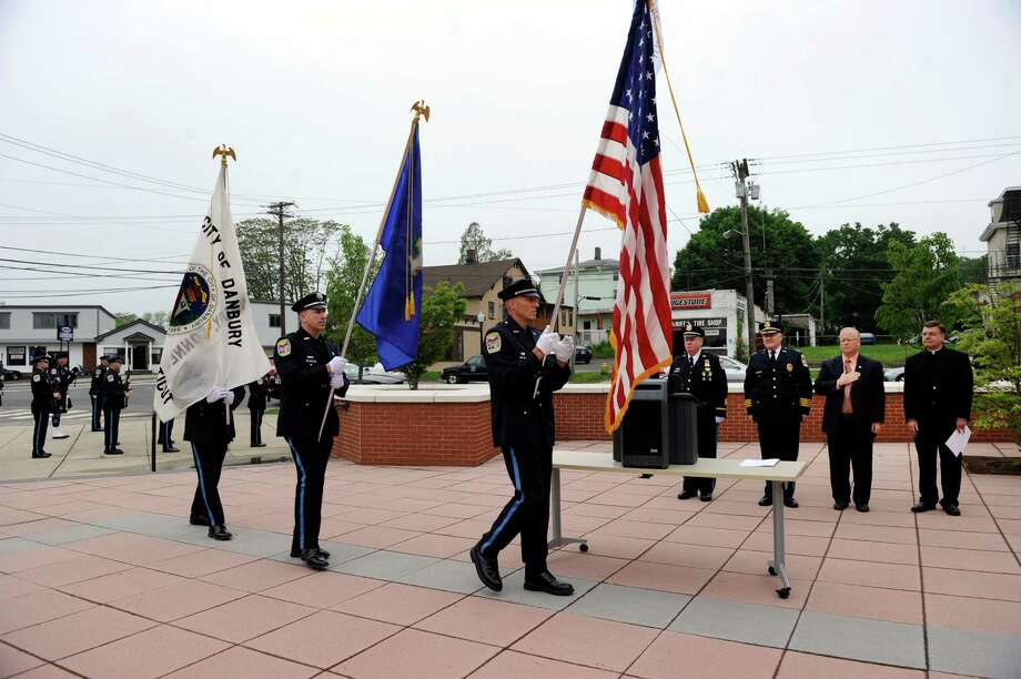 The Danbury Police Department color guard partcipate in the annual memorial service which preceded an awards ceremony, Wednesday, May 22, 2013. Photo: Carol Kaliff / The News-Times