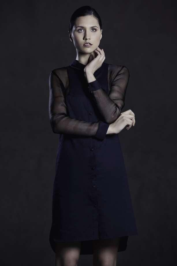 Cotton pique shirt dress with silk gauze mesh sleeves.