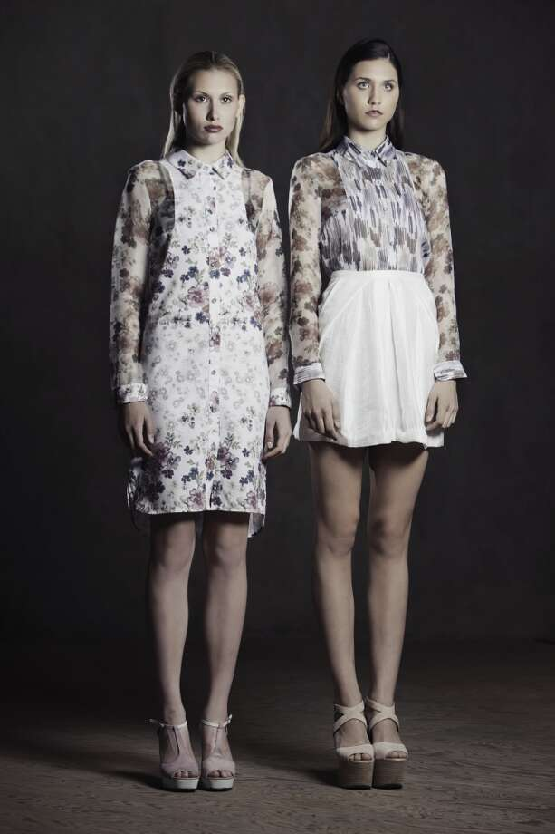 Cotton pique shirt dress (left) and sheer silk button-down.