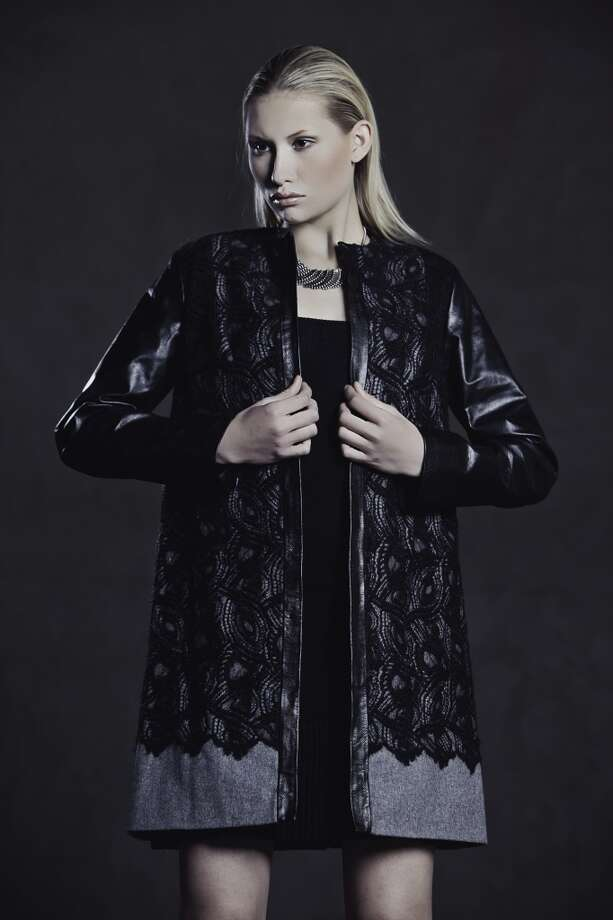 Felted lace wool coat with leather details.