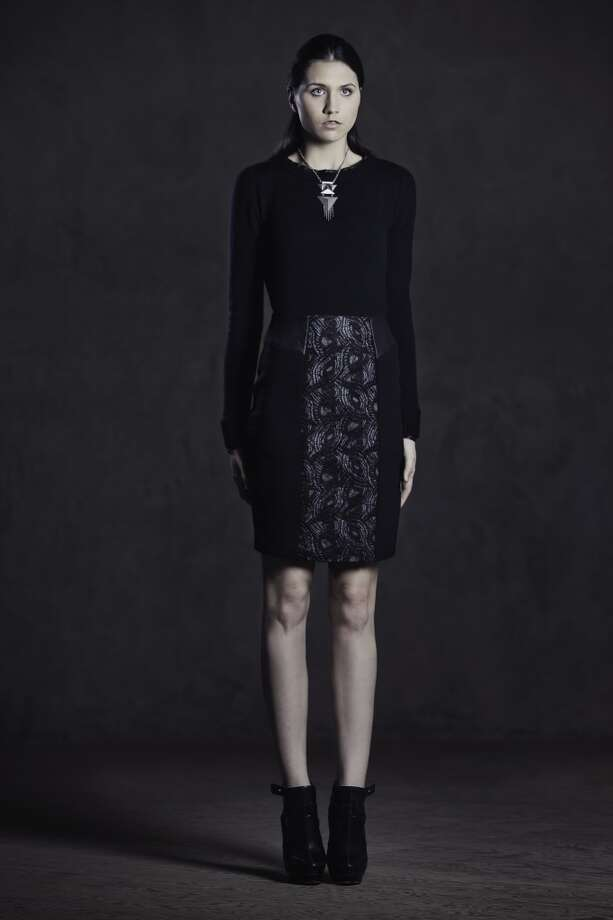 Felted lace, stretch wool crepe and leather pencil skirt.
