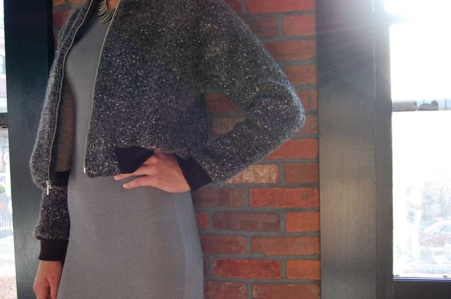 A sequin felted knit bomber jacket with leather details for Mansoor Scott fall/winter 2013.