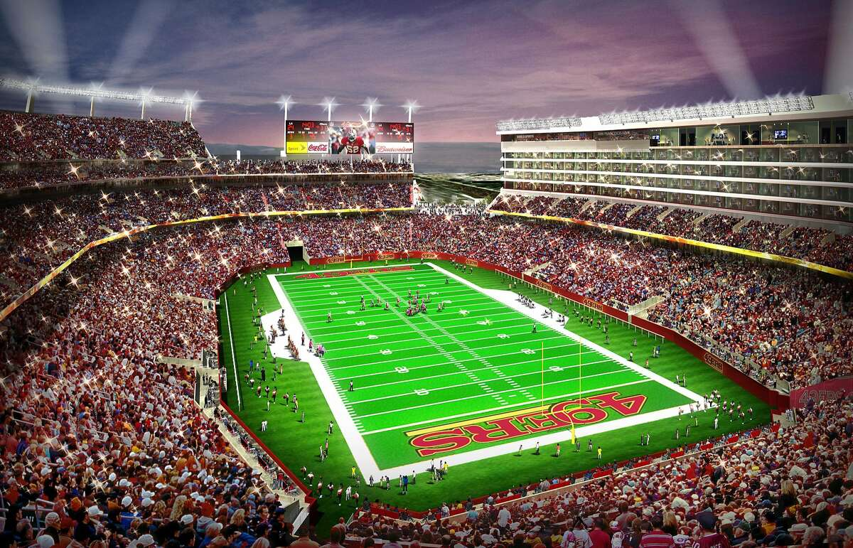 FILE - This artist rendering provided by the San Francisco 49ers on Feb. 10, 2010, shows the proposed 49ers NFL football stadium in Santa Clara, Calif. The 49ers and Levi Strauss & Co have reached an agreement for a $220 million, 20-year naming rights deal for the team's future stadium in Santa Clara. The stadium will be called, Levi's Stadium.(AP Photo/San Francisco 49ers, File)