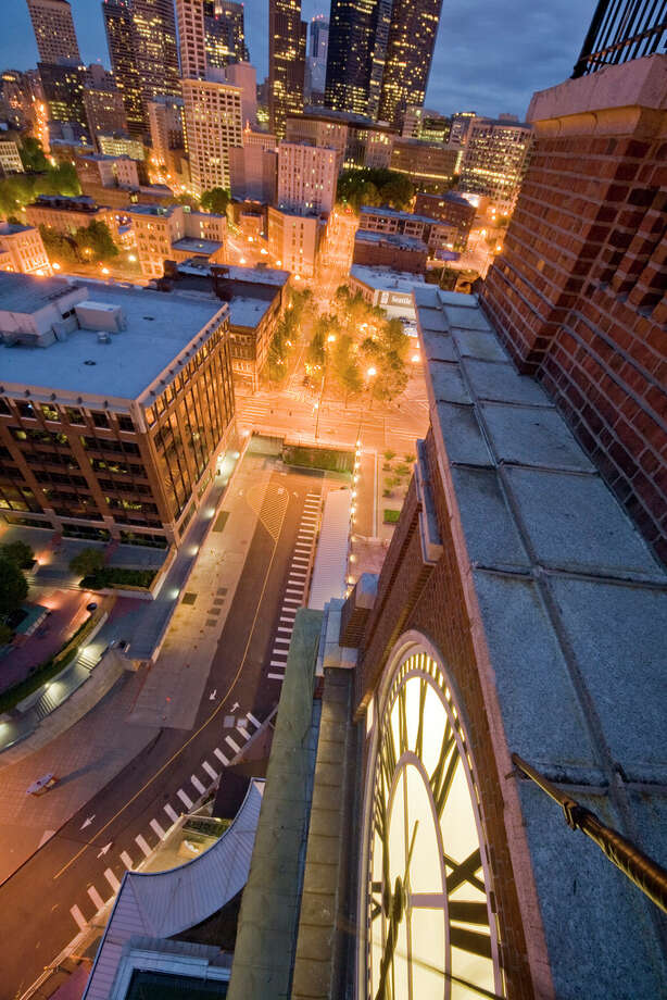 A view from a ledge on the King Street Station clock tower is shown in this image uploaded to the Internet.