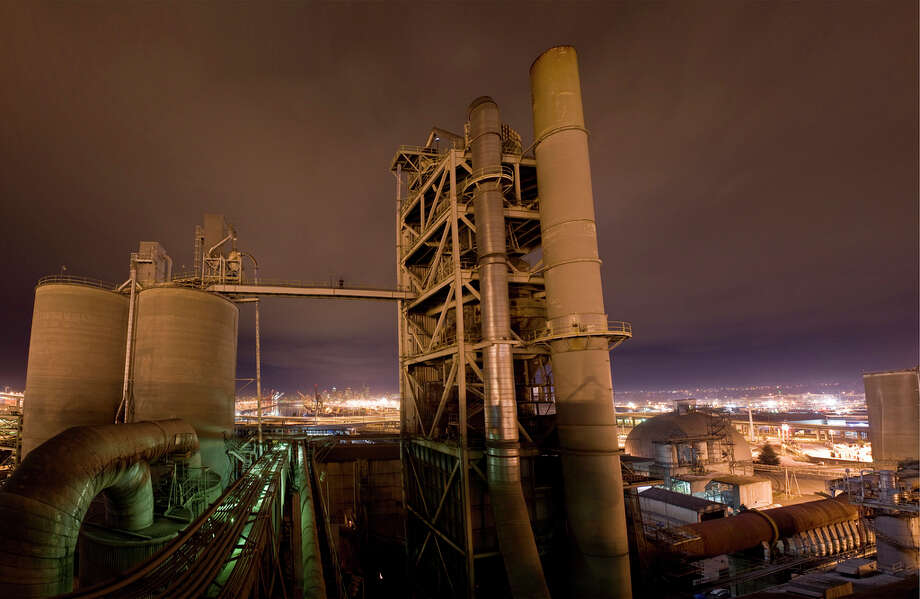 A man climbs a cement plant in this image uploaded to the Internet.