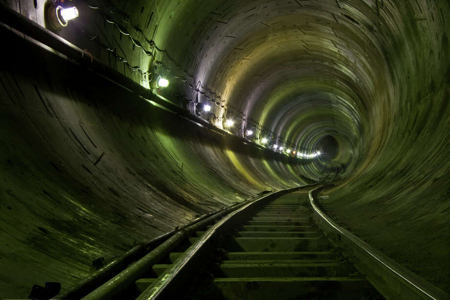A view of a underground train line under construction is shown in this image uploaded to the Internet.
