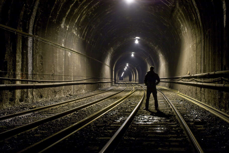 The climber who has uploaded many images from the heights of Seattle landmarks has not limited his images to Seattle. Shown is a subway tunnel in this image uploaded to the Internet.