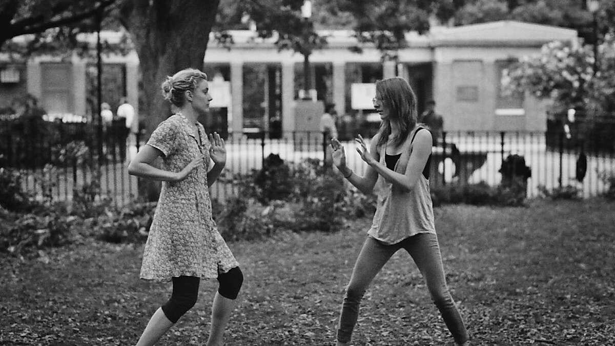 "Greta Gerwig & Mickey Sumner playfighting in, ""Frances Ha."""