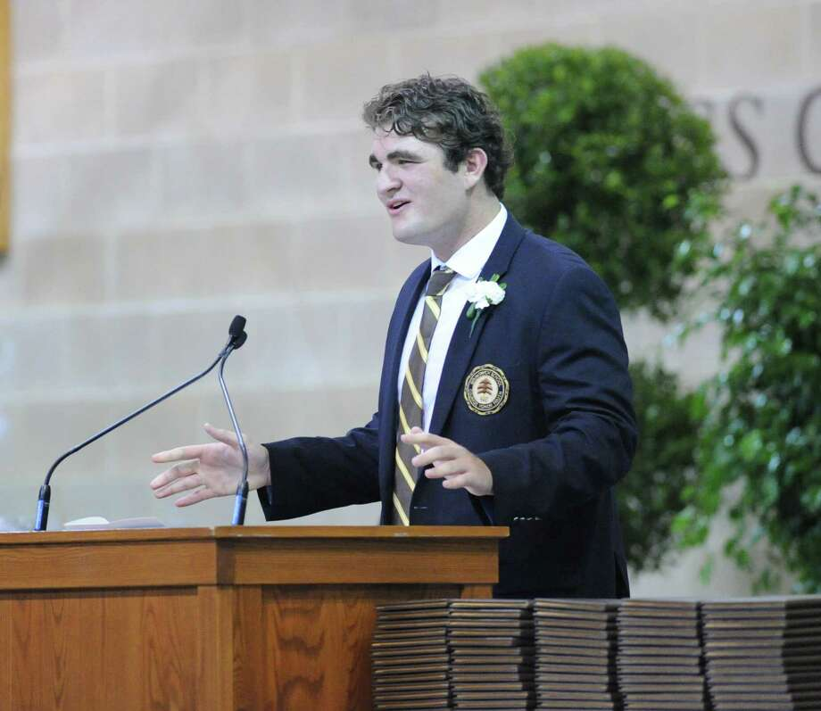 "Brunswick School graduating senior, Alexander Coopersmith, 18, of Greenwich,  gave ""The Ivy"" speech during the Brunswick School Graduation at the school in Greenwich, Wednesday, May 22, 2013. Coopersmith said he will be attending the University of North Carolina in the fall. Photo: Bob Luckey / Greenwich Time"
