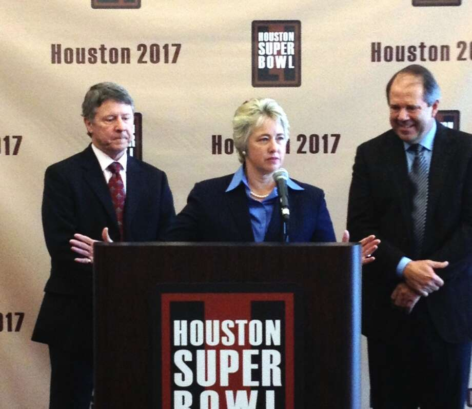 From left to right: Judge Ed Emmett, Houston Mayor Annise Parker and Super Bowl bid chairman Ric Campo speak during Wednesday's news conference.