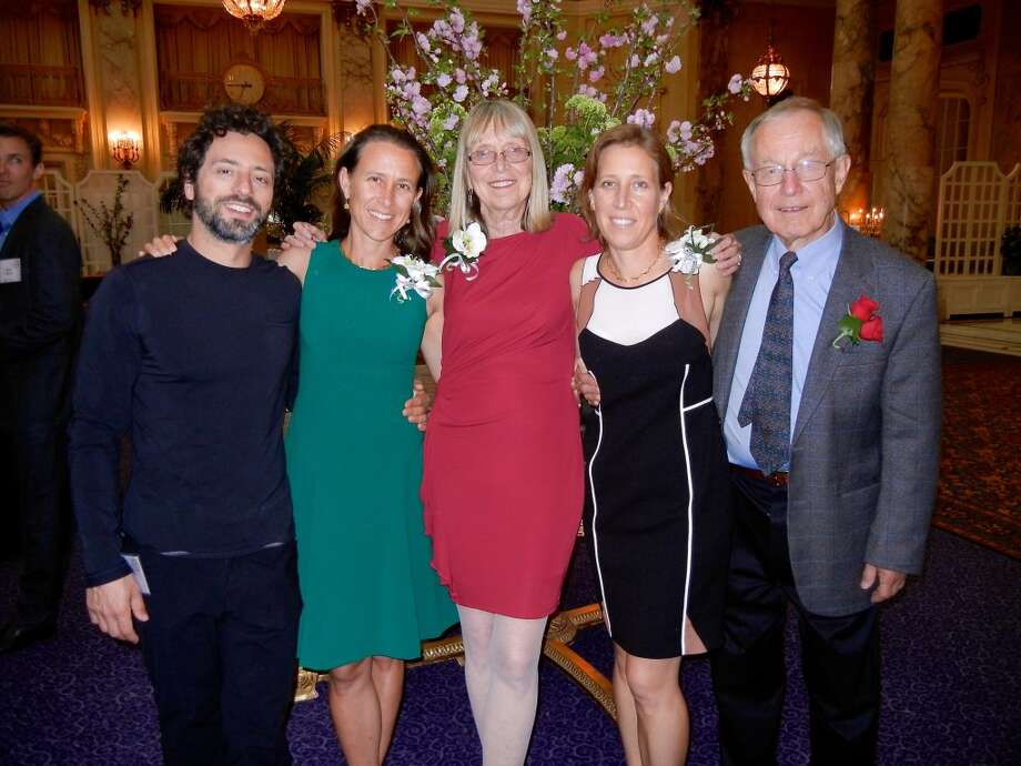 Google co-founder Sergey Brin (left) with his wife, Anne Wojcicki and her family, mother Esther Wojcicki, sister Susan Wojcicki and dad, Stanley Wojcicki, at the Commonwealth Club's Distinguished Citizen's Award Dinner April 10, 2013.