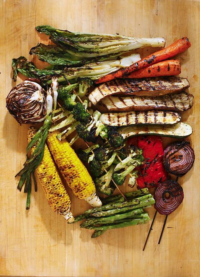 Vegetarian friends don't have to miss out on the food fiesta. Try this recipe for Greek-inspired grilled vegetables. Photo: Craig Lee, Special To The Chronicle