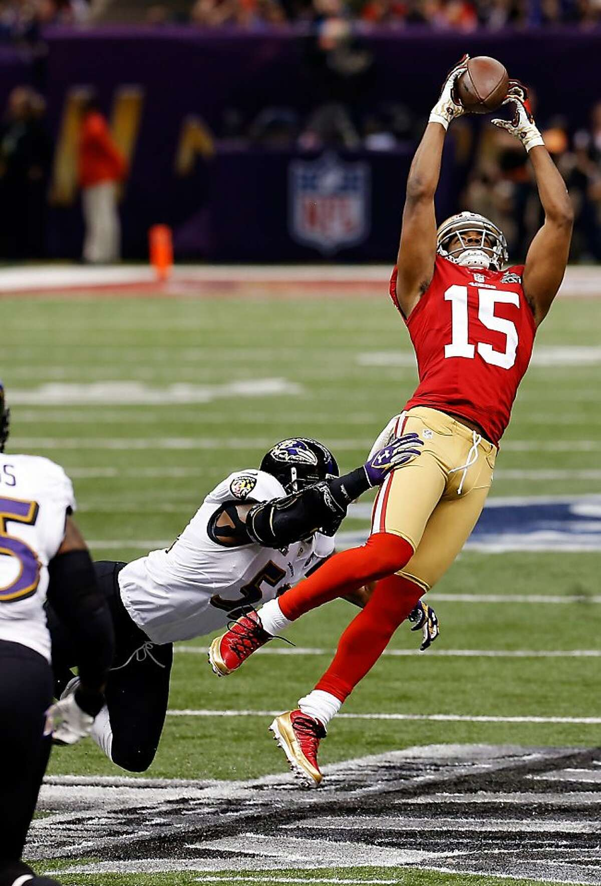 Michael Crabtree makes a leaping catch on a pass from Colin Kaepernick in the first quarter. The San Francisco 49ers played the Baltimore Ravens in Super Bowl XLVII, on Sunday, February 3, 2013, in New Orleans, La. The Ravens defeated the 49ers, 34-31.