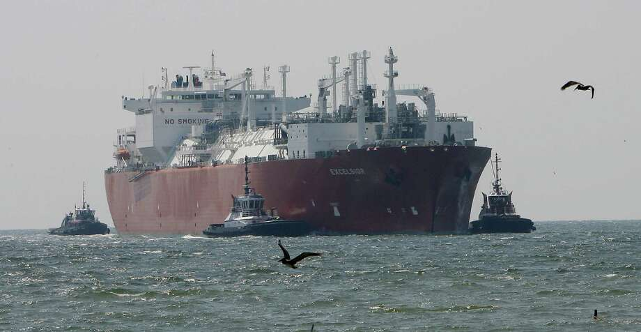 A transport ship arrives at the Freeport LNG terminal southwest of Houston. On Friday, the facility at Quintana Island was granted a conditional export approval. Photo: Associated Press / File Photo