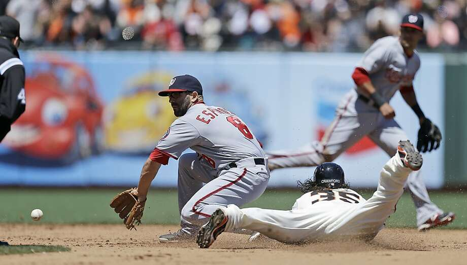 San Francisco Giants' Brandon Crawford (35) steals second as Washington Nationals second baseman Danny Espinosa fields the late throw in the fifth inning of a baseball game Wednesday, May 22, 2013, in San Francisco. (AP Photo/Ben Margot) Photo: Ben Margot, Associated Press