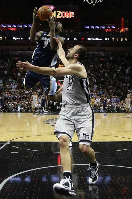 "Manu Ginobili draws a flagrant foul on Tony Allen in Game 2. ""Yeah, I guess I was (surprised),"" Ginobili said of the ruling. ""I guess they made the right call."" Photo: Stephen Dunn / Getty Images"