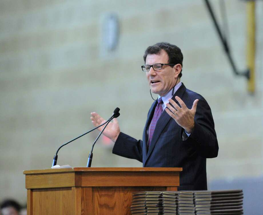 New York Times columnist Nicholas Kristof spoke during the Brunswick School Graduation at the school in Greenwich, Wednesday, May 22, 2013. Photo: Bob Luckey / Greenwich Time