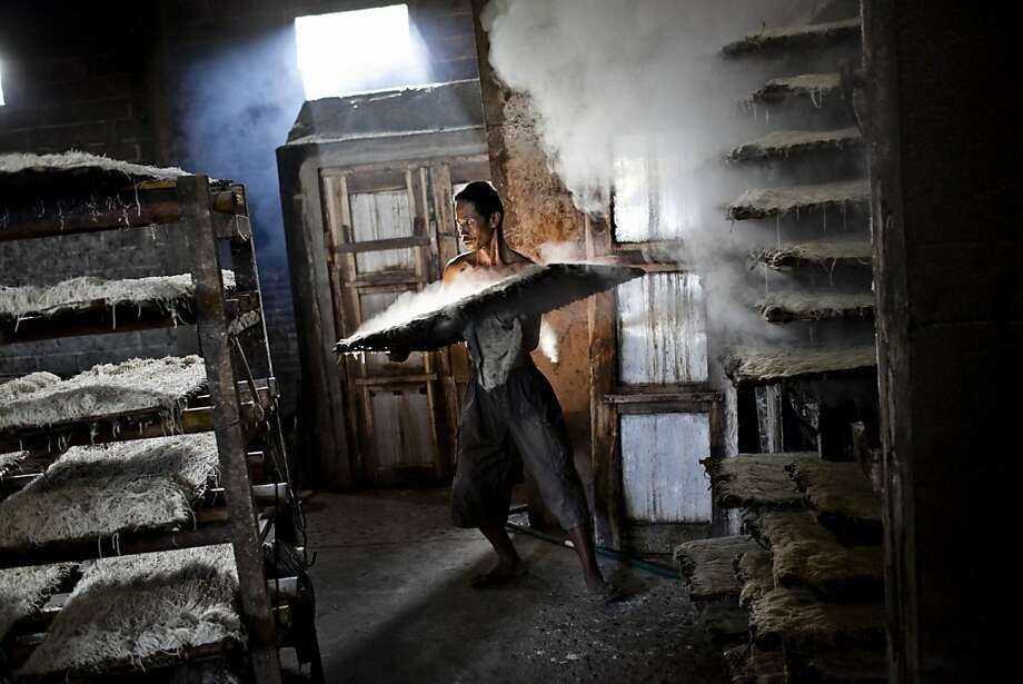 Finely crafted noodles, milled by artisan cows: A laborer carries a steaming tray of fresh mie lethek at the mie lethek plant in Srandakan village, Bantul. A one-ton stone cylinder, rotated by cattle, grinds the flour for the noodles, a technique 
