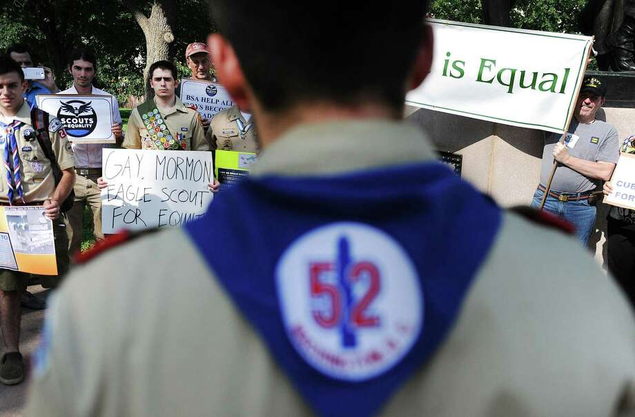 Scouts for Equality members hold a rally to call for equality and inclusion for gays in the Boy Scouts of America at the Boy Scout Memorial in Washington. Photo: Olivier Douliery / McClatchy-Tribune News Service