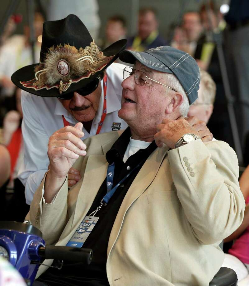 Richard Petty, left, congratulates his brother, Maurice, on Wednesday's selection to the next class of inductees for he NASCAR Hall of Fame. Maurice Petty, who was a master mechanic, is the fourth member of the Petty family to enter the hall. Photo: Chuck Burton, STF / AP