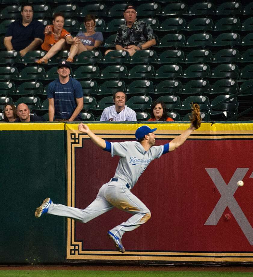 Royals right fielder Jeff Francoeur can't get to double by Astros catcher Jason Castro that scored second baseman Jose Altuve during the eighth inning.