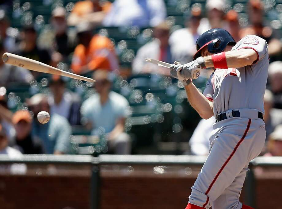 SAN FRANCISCO, CA - MAY 22:  Ryan Zimmerman #11 of the Washington Nationals breaks his bat in the first inning of their game against the San Francisco Giants at AT&T Park on May 22, 2013 in San Francisco, California.  (Photo by Ezra Shaw/Getty Images) Photo: Ezra Shaw, Getty Images