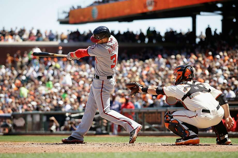 SAN FRANCISCO, CA - MAY 22:  Bryce Harper #34 of the Washington Nationals hits a home run in the sixth inning of their game against the San Francisco Giants at AT&T Park on May 22, 2013 in San Francisco, California.  (Photo by Ezra Shaw/Getty Images) Photo: Ezra Shaw, Getty Images