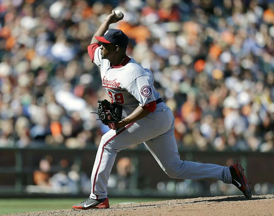 Washington Nationals' Rafael Soriano works against the San Francisco Giants in the 10th inning of a baseball game on Wednesday, May 22, 2013, in San Francisco. (AP Photo/Ben Margot) Photo: Ben Margot, Associated Press