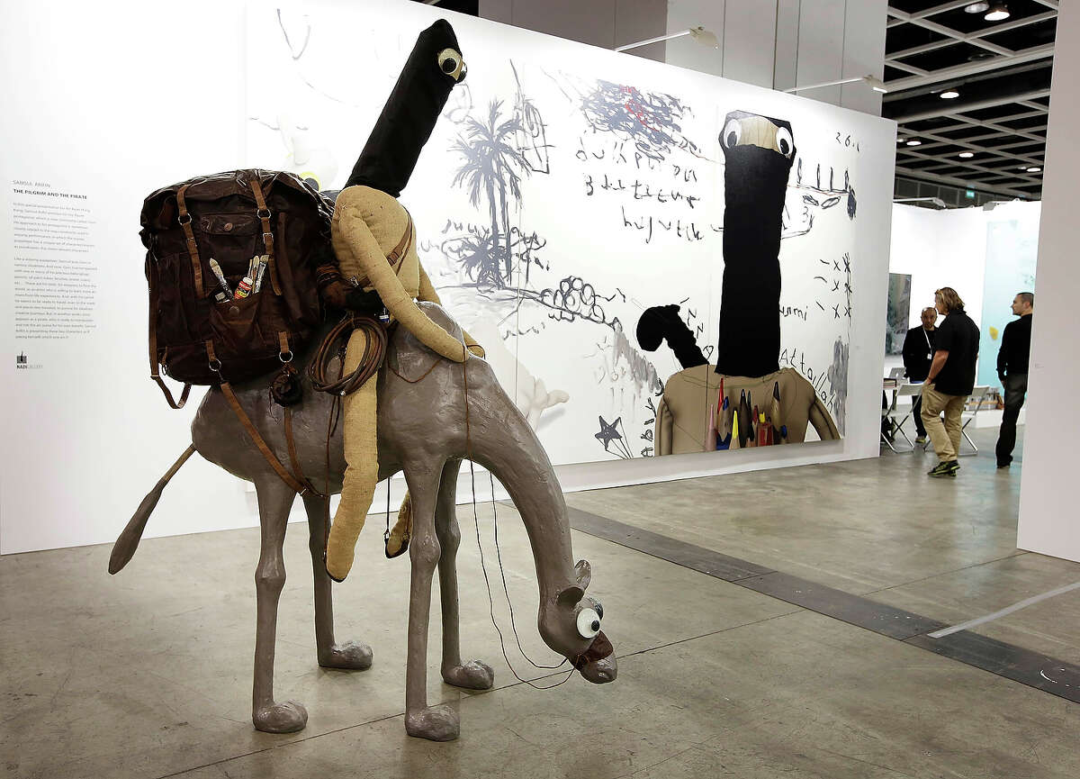 Art Basel, the modern art festival that began in Basel, Switzerland in 1907 and expanded to Miami in 2002 is debuting in Asia this year. Each year, Art Basel attracts many of the wealthiest modern art collectors in the world.Above:'The Pilgrim and the Pirate' by Samsul Arifin, represented by the Nadi Gallery, Jakarata, at Art Basel, May 22, 2013 in Hong Kong.